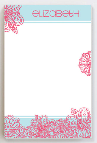Blossom pink on blue notepad