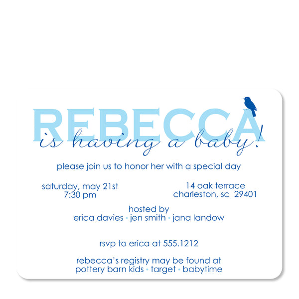 Blue Bird Baby Shower Invitation