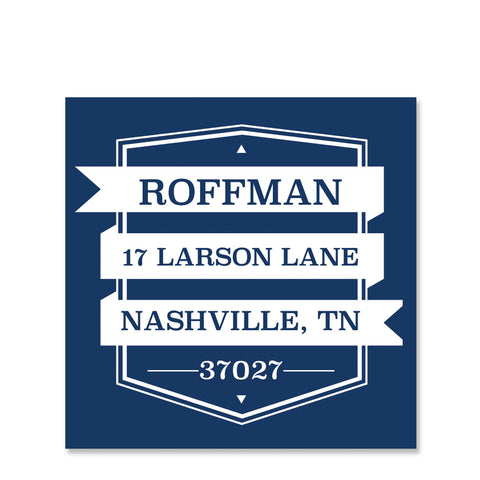 Blue Cutout Return Address Sticker | Swanky Press