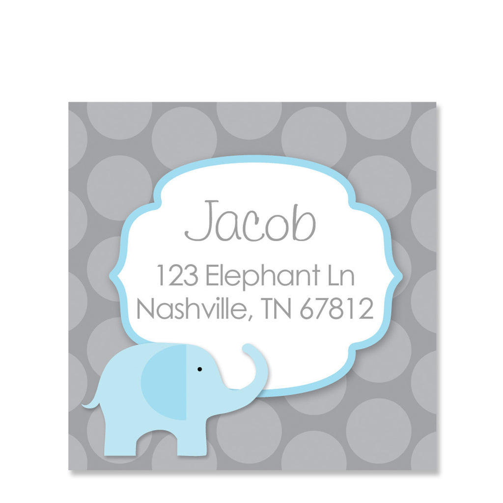 Blue Elephant Return Address Stickers