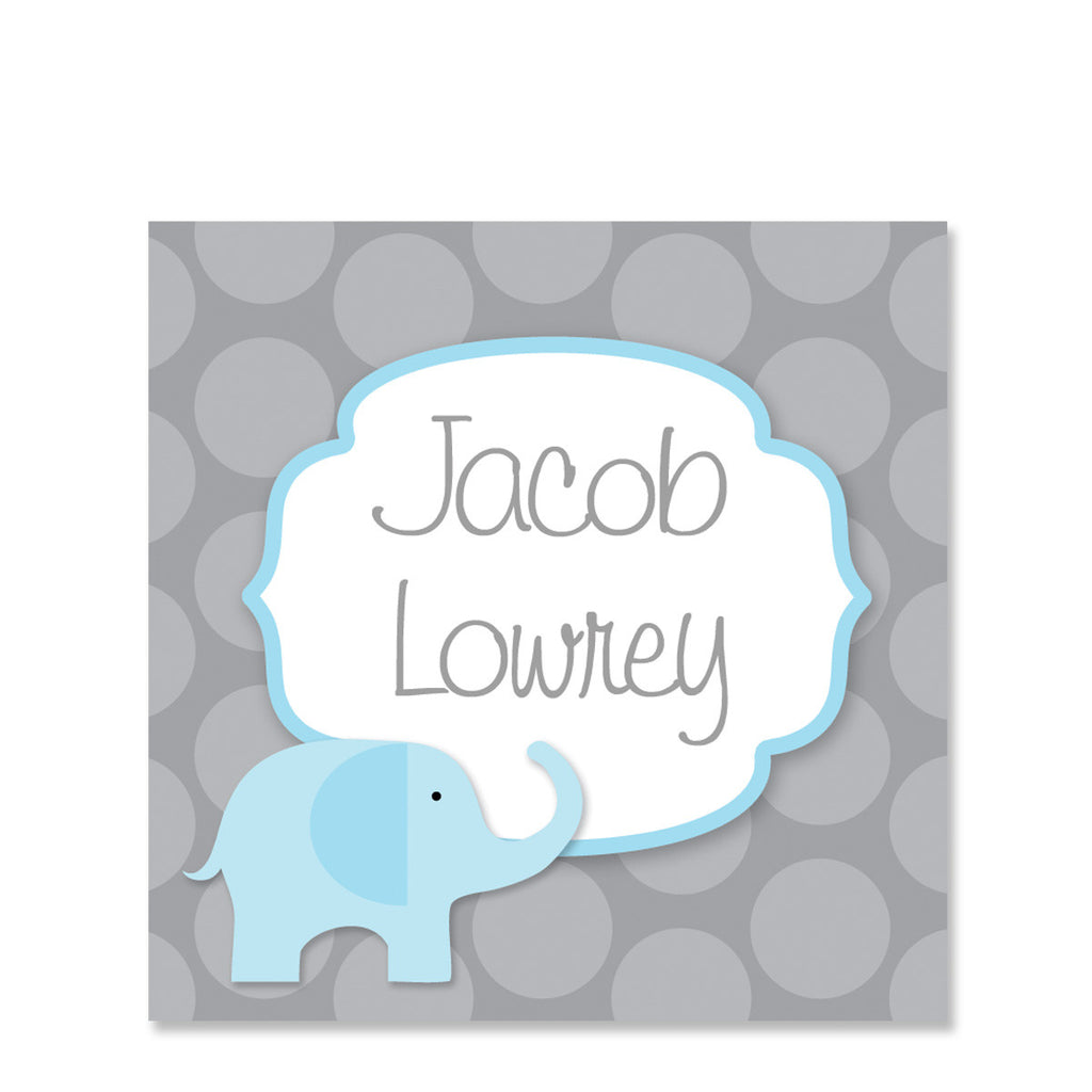Blue Elephant Name Stickers