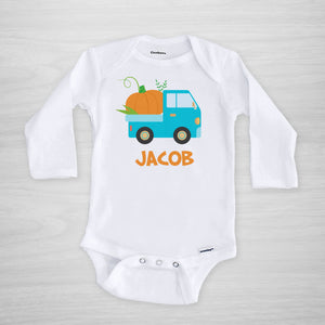 Blue Truck with pumpkin personalized Halloween Onesie®