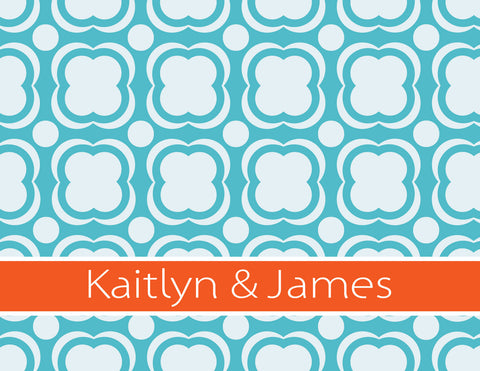 Couples stationery, blue, orange