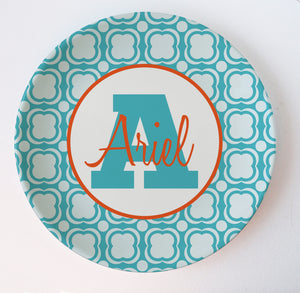 Blue sky melamine plate with name and initial