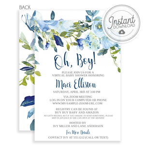 Virtual Baby Shower - Blue Floral Watercolor,  Instant Download, Templett, PIPSY.COM