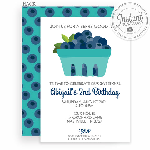 Blueberry Birthday Invitation DIY | Instant Download and Editable File | Templett Invitation | PIPSY.COM