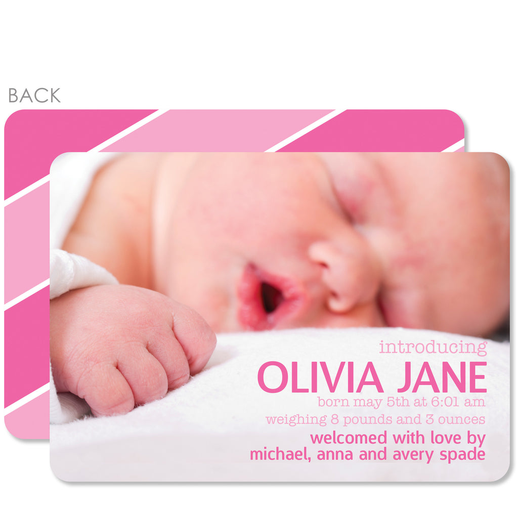 Bold Pink Stripes Birth Announcement