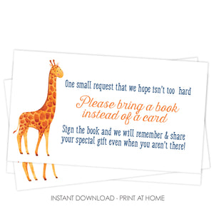 Giraffe Baby Book Request Card, Printable, Blue