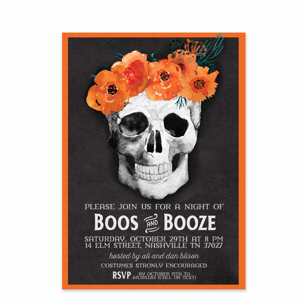 Boos & Brews Flowers and Skulls Halloween Party Invitation | Swanky Press | Front