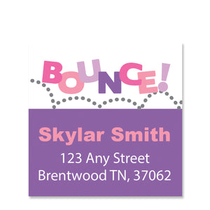 Pink and Purple Jump & Bounce Return Address Sticker | Swanky Press | Square