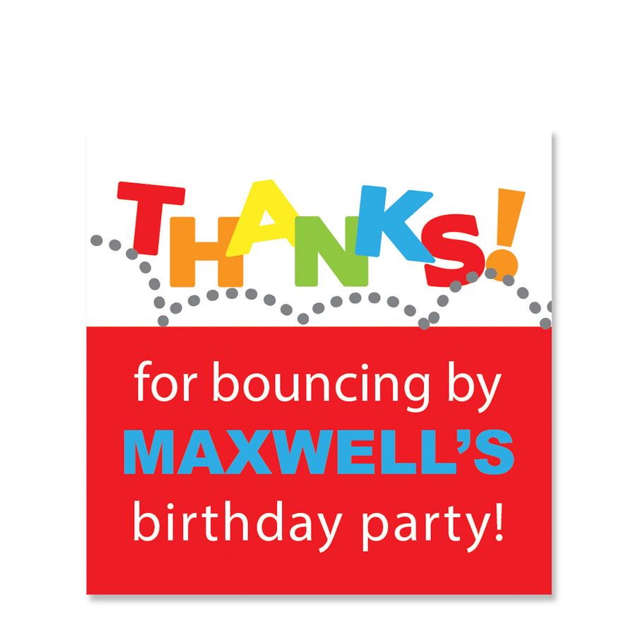 Red Bounce & Jump Gift Stickers | Swanky Press | Square