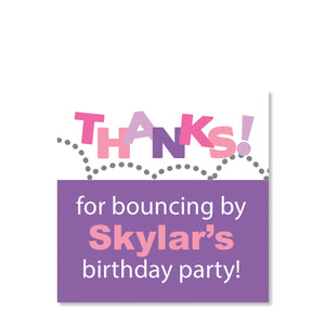 Pink & Purple Bounce & Jump Party Cardstock Gift Tag | Swanky Press | Front