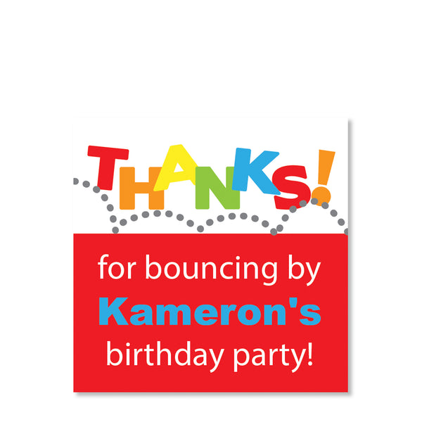 Red Bounce Cardstock Favor Tag | Swanky Press | Front