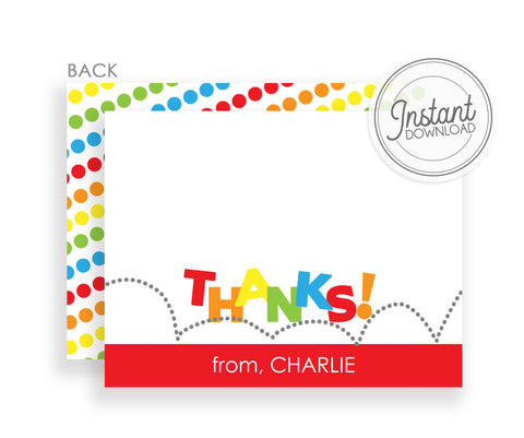 Thank you notecards for bounce, jump, or trampoline party, DIY Instant Download, Templett, PIPSY.COM