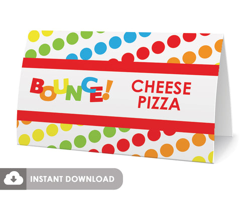 bounce printable diy food tents (primary colors)