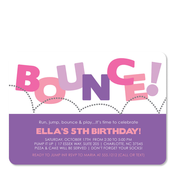 Bounce Birthday Invitation | Swanky Press (front view)