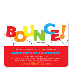 Red Bounce Birthday Invitation | Swanky Press | Front