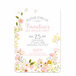 Bouquet Birthday Invitations | Swanky Press (front view)