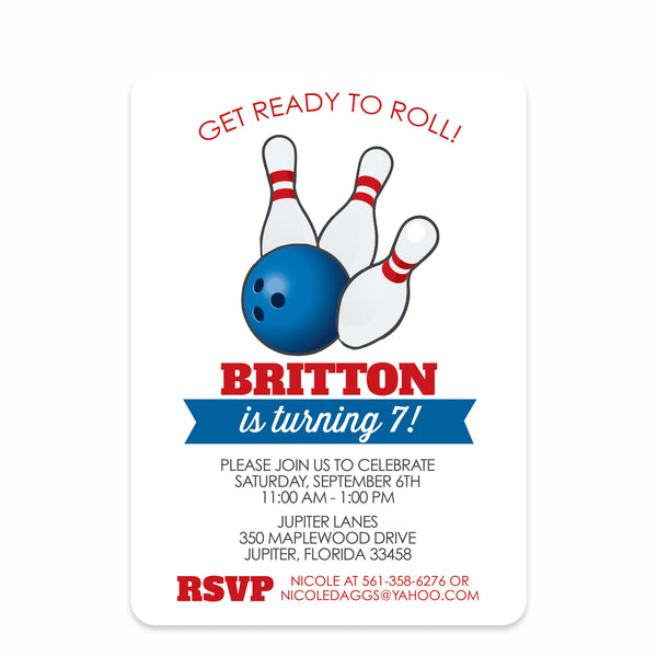 Blue & Red Stripes Bowling Party Birthday Invitation | Swanky Press | Front