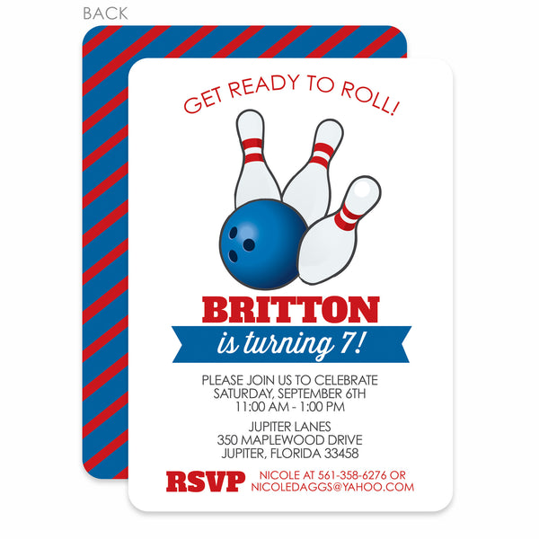 Bowling Party Birthday Invitation | Swanky Press | Blue & Red Stripes