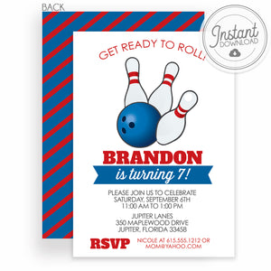 Bowling Birthday Invitation, DIY Instant Download | Templett Invitation | PIPSY.COM