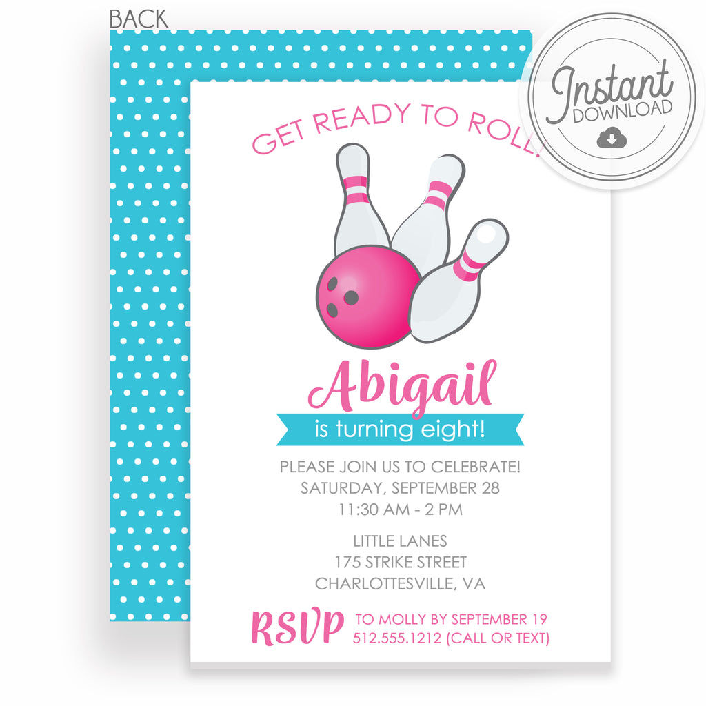photo relating to Printable Bowling Party Invitations referred to as Bowling Birthday Bash Invites, Female (Do-it-yourself Printable)