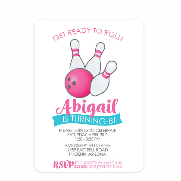 Bowling Birthday Invitations, Pink | Swanky Press