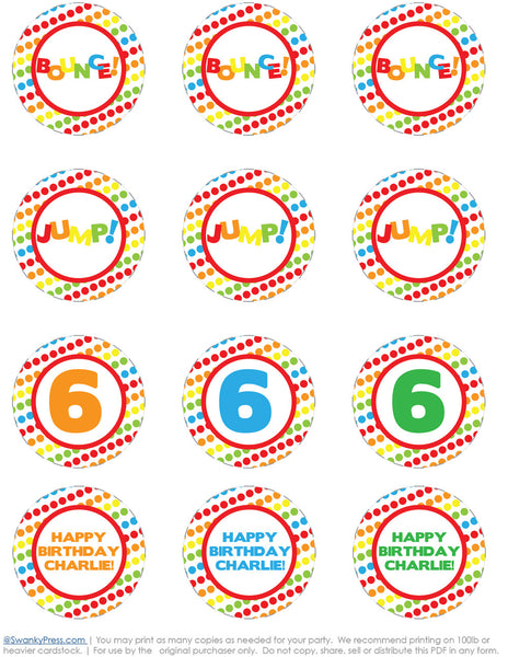 Bounce DIY Printable Cupcake Toppers - primary colors