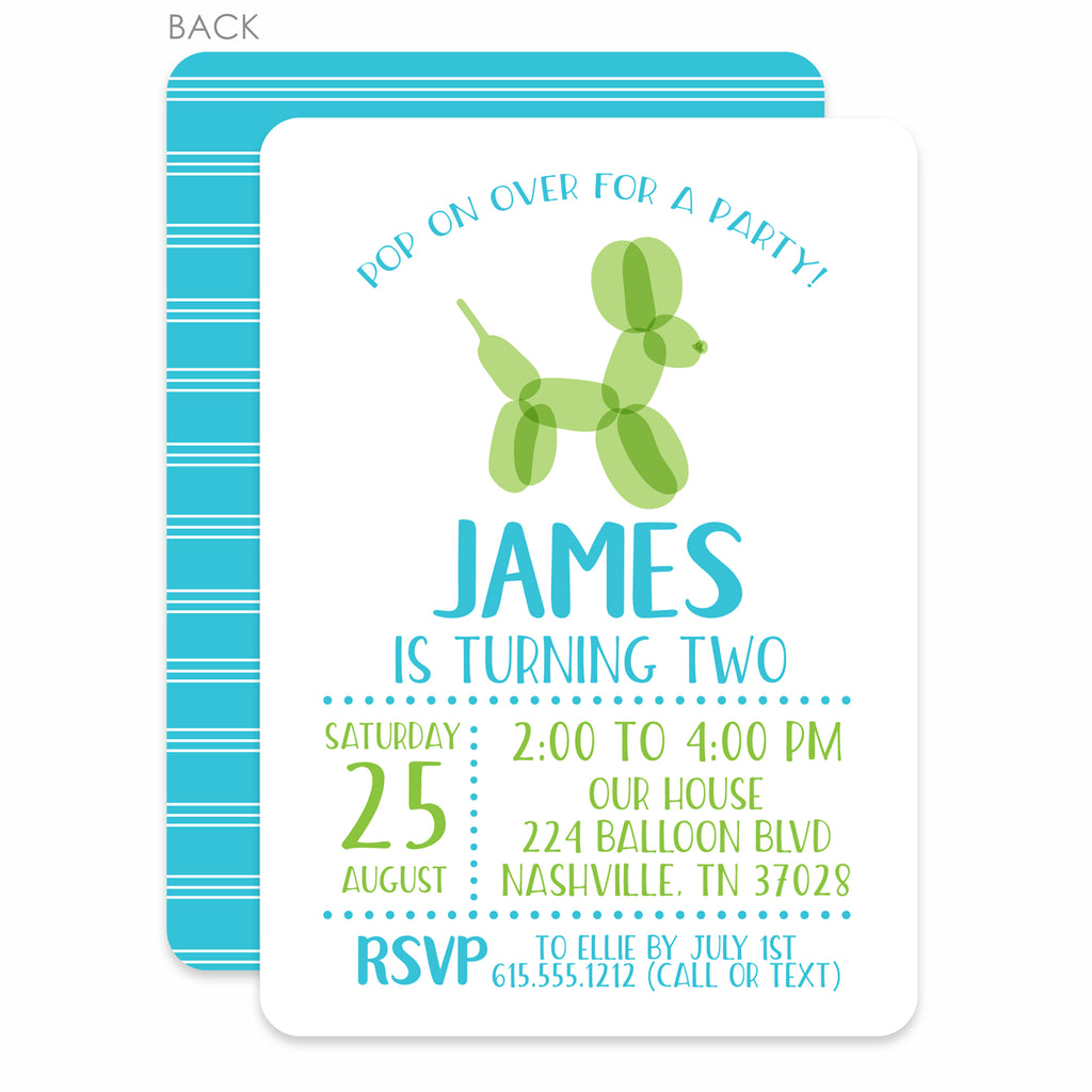 Balloon Animal Boy Birthday Invitation | PIPSY.COM