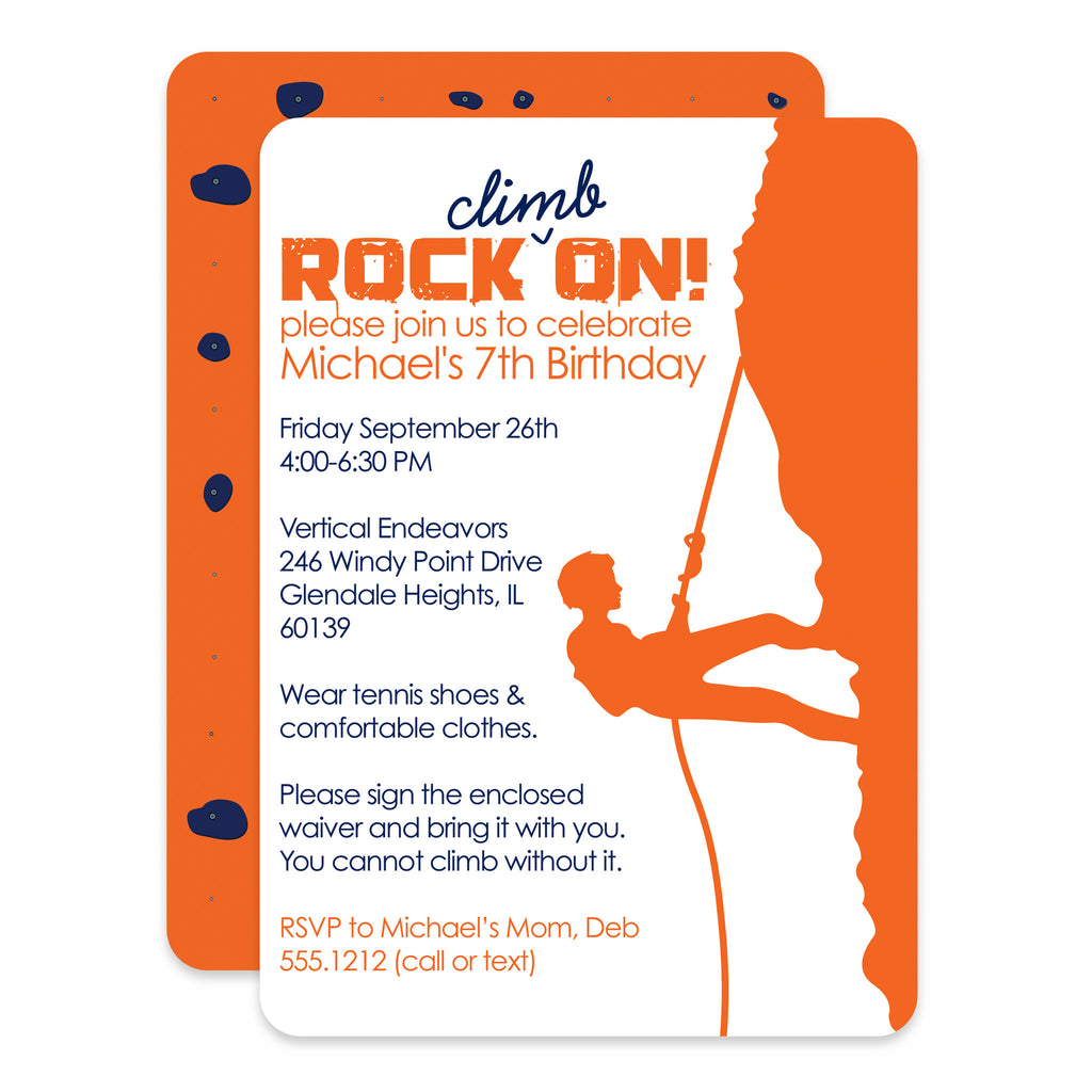Rock Climbing Boy Birthday Invitation Printed Pipsy