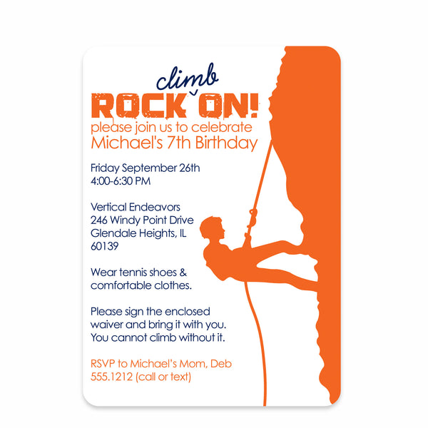 Rock Climbing Boy Birthday Invitation | Swanky Press (front view)