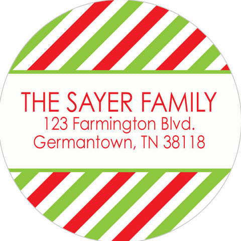 red and green striped holiday return address sticker