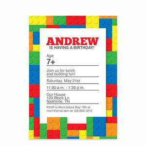 Building Block Birthday Invitations (Printed)