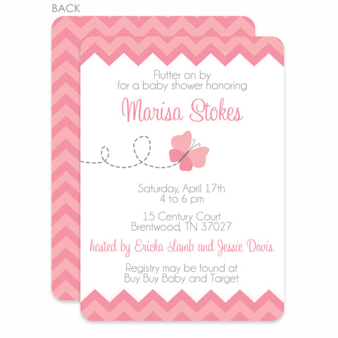 Pink Butterfly Baby Shower Invitation