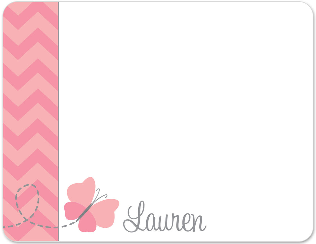 pink chevron print with pink butterfly flat notecards