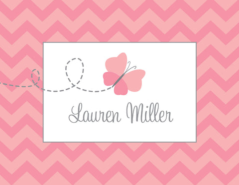 Pink butterfly with chevron background