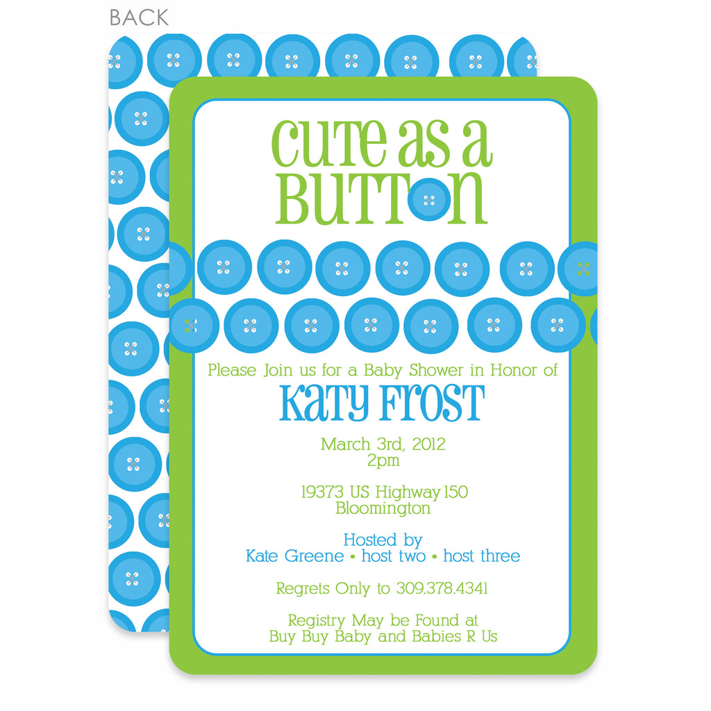 Swanky Press Cute As A Button Baby Shower Invitation Boy Pipsy