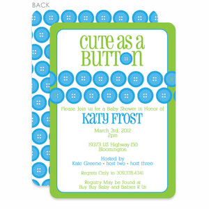 Cute As A Button Green Shower Invitation