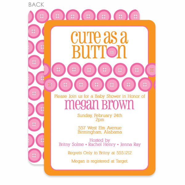 Cute As A Button Orange Baby Shower Invitation