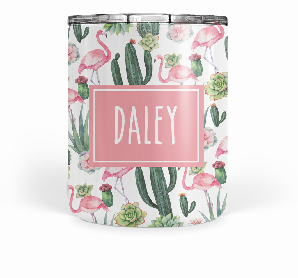 Cactus-Flamingo Double Walled Stainless Tumbler (short)
