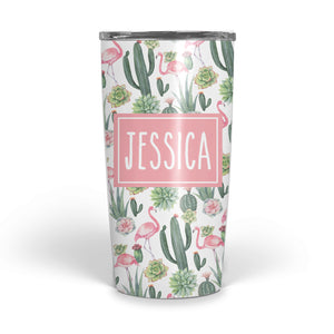Cactus-Flamingo Double Walled Stainless Tumbler (tall)