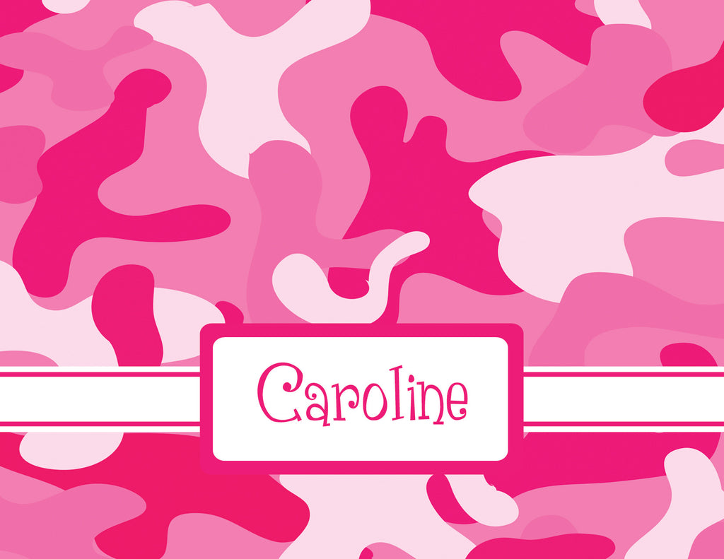pink camouflage notecard