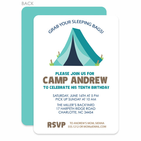 Camping Trip Party Birthday Invitation | Swanky Press | Light Blue