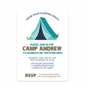 Camping Trip Party Birthday Invitation | Swanky Press | Front