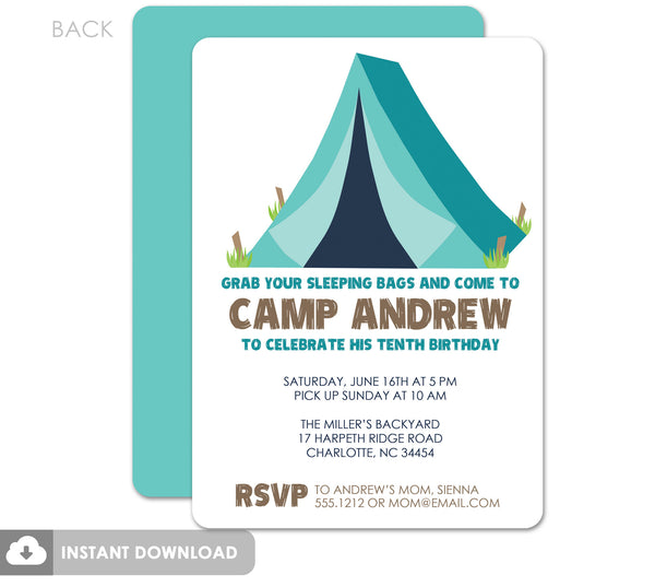 Camping and S'mores Party | DIY birthday invitation