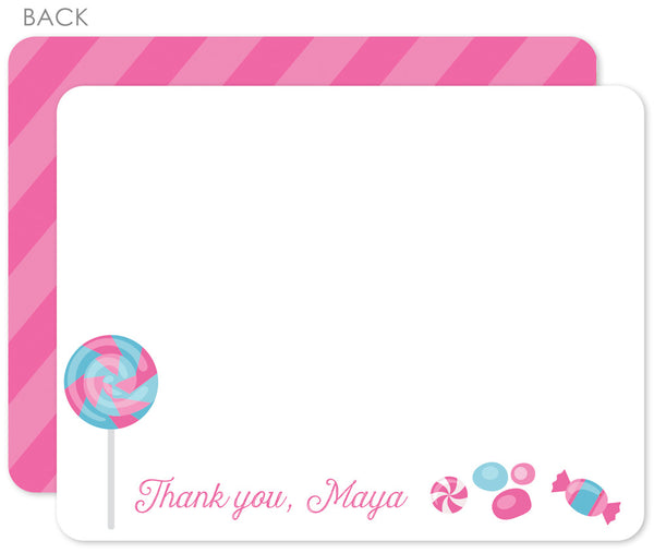 Candy party flat notecards- two sided
