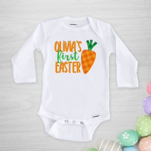 Personalized First Easter Onesie with a cute gingham carrot, PIPSY.COM long sleeved