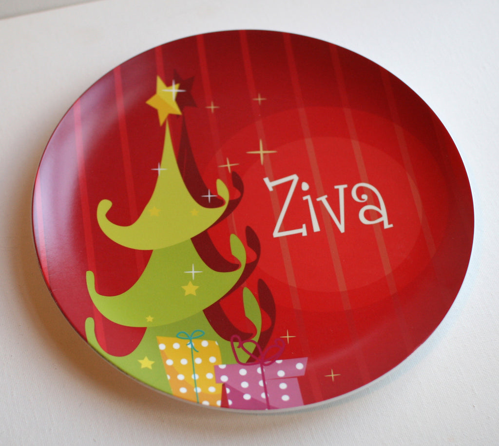cartoon christmas tree personalized melamine plate