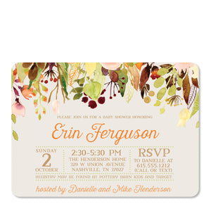 Cascading Flowers Baby Shower Invitation in Watercolor | Swanky Press (front view)