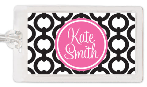 Black chain pattern with name feature in hot pink bag tag